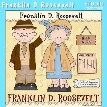 Franklin D Roosevelt US History Color Clip Art  C. Seslar