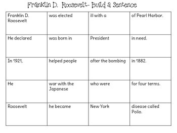 Franklin D. Roosevelt: Build a Sentence