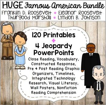 Franklin D. Roosevelt, Eleanor Roosevelt, Thurgood Marshall, Lyndon B. Johnson