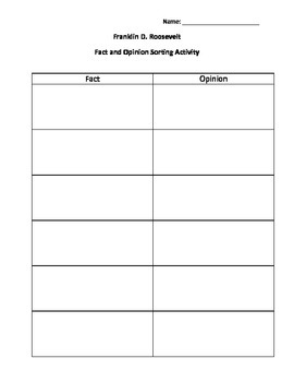 Franklin D. Roosevelt Fact and Opinion Sort