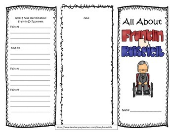 Franklin D. Roosevelt Interactive Brochure- Printable- NO PREP!
