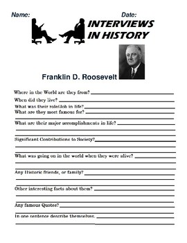 Franklin D. Roosevelt Research and interview Assignment
