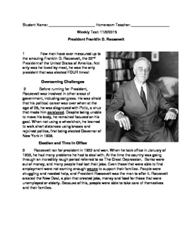 Franklin D. Roosevelt Bilingual STAAR Style Nonfiction Review