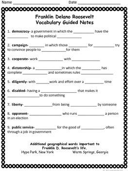 Franklin D. Roosevelt Spelling/Vocab GPS Social Studies Historical Figure