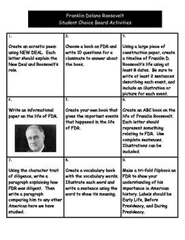 Franklin D. Roosevelt - Student Choice Board