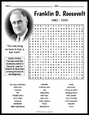 Franklin D. Roosevelt Word Search Worksheet