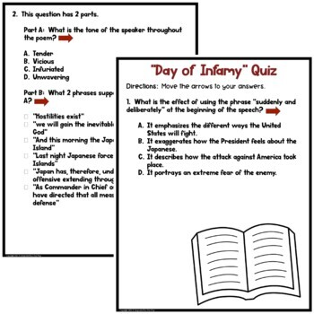 FDR's Day of Infamy Speech Reading Comprehension Test Prep Quiz Pack
