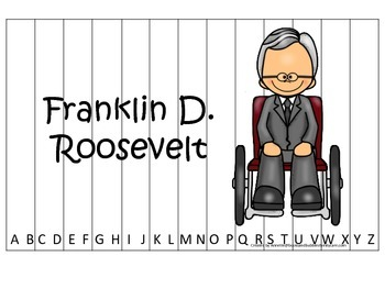 Franklin D Roosevelt themed Alphabet Sequence Puzzle.  Preschool learning game.