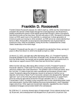 Franklin Delano Roosevelt Article and Assignment