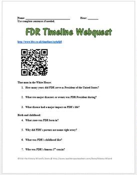 Franklin Delano Roosevelt (FDR) Webquest