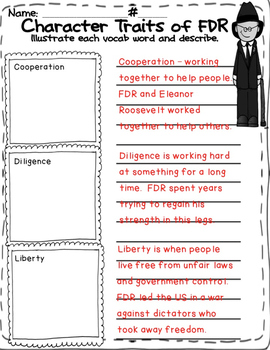 Famous Americans: Franklin Delano Roosevelt Literacy Unit-Interactive Notebook