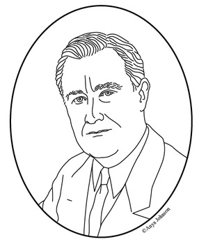 Franklin D. Roosevelt (32nd President) Clip Art, Coloring Page or Mini Poster