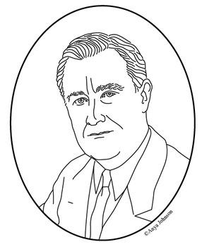 Franklin D. Roosevelt (32nd President) Clip Art, Coloring