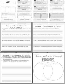 Franklin & Eleanor Roosevelt Close Read 5 Level Passages 30+pages Info Txt