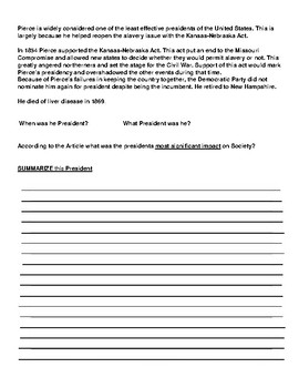 Franklin Pierce Article and Summary  Assignment