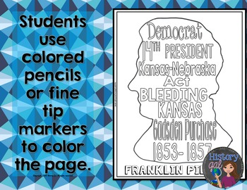 Franklin Pierce Coloring Page and Word Cloud Activity