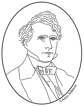 Franklin Pierce (14th President) Clip Art, Coloring Page or Mini Poster