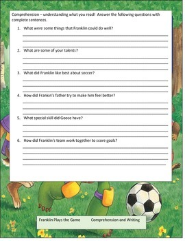 Franklin Plays the Game Reading Literature Study Guide CCSS ELA Printable