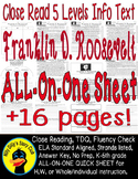 Franklin Roosevelt FDR Close Reading 5 Level Passages 16pgs Informational Text
