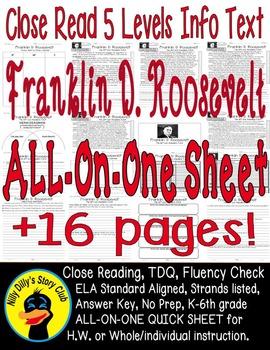 Franklin Roosevelt FDR Close Reading 5 Level Passages 16pg