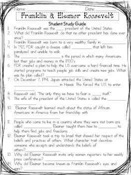 Franklin and Eleanor Roosevelt Assessment Packet: Study Guide and Test