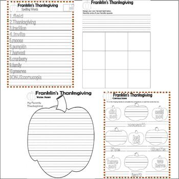 Franklin's Thanksgiving Comprehension Book Study Activity Packet 17p LINED PAPER