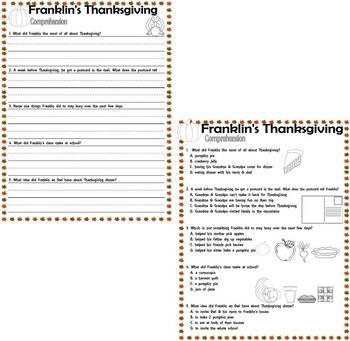 Franklin's Thanksgiving : Comprehension Questions : LINED handwriting paper