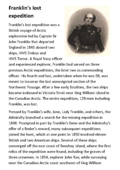 Franklin's lost expedition Handout