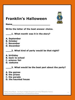 Franklin's Halloween Literacy Activity