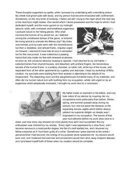 Frankstein, Chapter 4, three-page abridgement