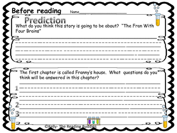 Franny K. Stein The Fran With Four Brains comprehension/writing ideas