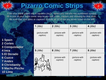 Fransisco Pizarro Comic Strip Activity: engaging 20-slide PPT