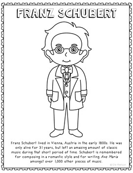 Franz Schubert, Famous Composer Informational Text Coloring Page Craft