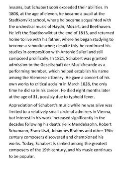 Franz Schubert Handout