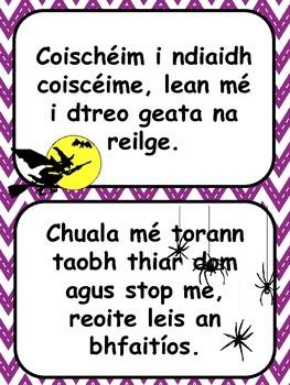 Frásaí Scanrúla Scríbhneoireachta Oíche Shamhna//Scary Phrases Halloween Writing