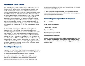 Frases Magicas Realidades 4B cooperative learning magic sentences grammar vocab