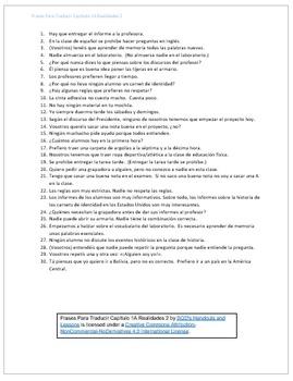 Frases Para Traducir Capítulo 1A Realidades 2