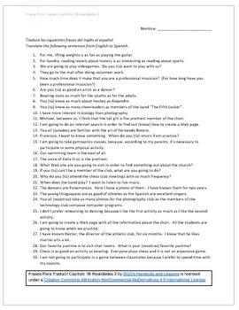 Frases Para Traducir Capítulo 1B Realidades 2