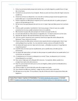 Frases Para Traducir Capítulo 2A Realidades 2