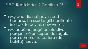 Frases Para Traducir Capítulo 2B Realidades 2