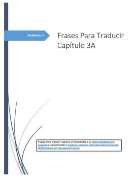 Frases Para Traducir Capítulo 3A Realidades 2