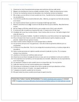 Frases Para Traducir Capítulo 4B Realidades 2
