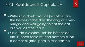 Frases Para Traducir Capítulo 5A Realidades 2