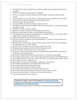 Frases Para Traducir Capítulo 7A Realidades 2
