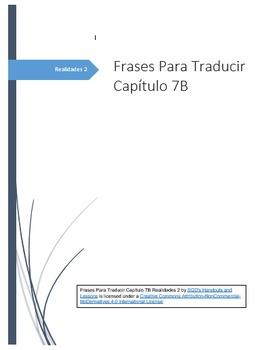 Frases Para Traducir Capítulo 7B Realidades 2