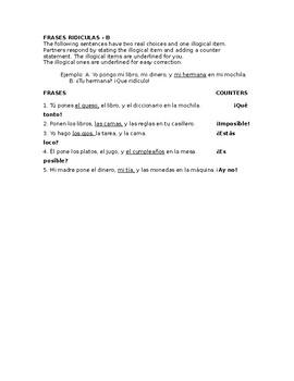 Frases Ridículas con Poner - Partner practice with poner