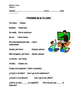 Frases de la Clase (Classroom Phrases in Spanish)