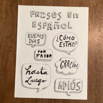 Frases en español - Word wall - Spanish phrases Bulletin board poster gracias