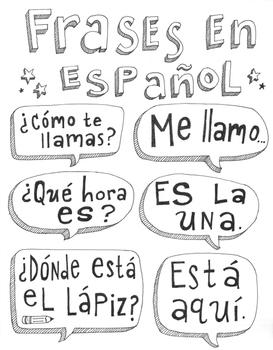 Frases en español ~Frases ~Spanish poster ~flash cards ~word wall Bulletin board