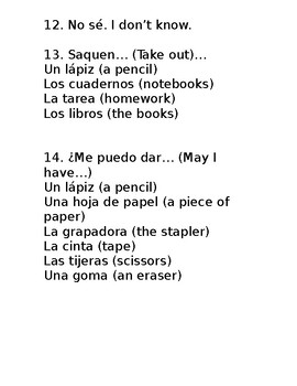 Frases importantes- Important Phrases for early Spanish learners